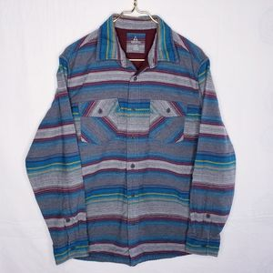 Ascend Striped Flannel Button Down Top Size Large